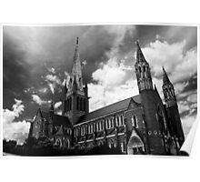Bendigo Cathedral Full Shot in Black and White Poster
