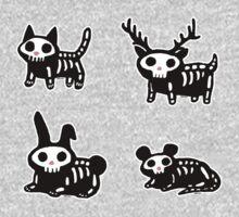 Cute Cartoon Halloween Animals Skeletons Kids Clothes