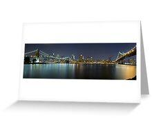 Manhattan at Night Panorama 3 Greeting Card