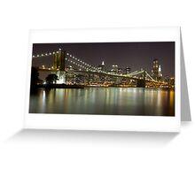 Brooklyn Bridge at Night Panorama 1 Greeting Card