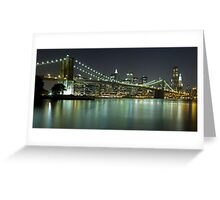 Brooklyn Bridge at Night Panorama 6 Greeting Card