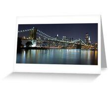 Brooklyn Bridge at Night Panorama 7 Greeting Card