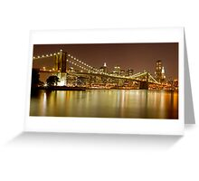 Brooklyn Bridge at Night Panorama 10 Greeting Card