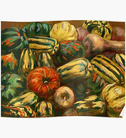 Still life with colorful pumpkins Poster