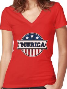 'MURICA T-Shirt. America. Jesus. Freedom. - The Campaign Women's Fitted V-Neck T-Shirt