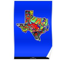 TEXAS STATE, Colorful Texas State cities, Fun Texas State icons, Texas State facts and everything about TEXAS State and Texas art Poster