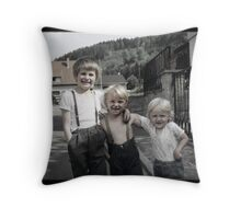 Three Smiling Brothers Throw Pillow