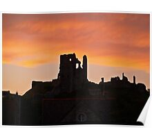Corfe Castle Sunset in August Poster
