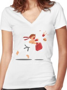 Dropped Combo Women's Fitted V-Neck T-Shirt