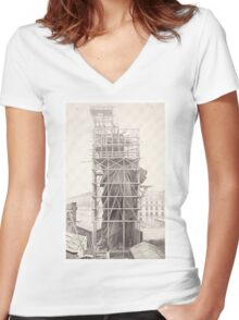 Construction of The Statue of Liberty Women's Fitted V-Neck T-Shirt