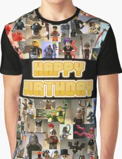 Happy Birthday Greeting Card, Montage of Custom Minifigs Graphic T-Shirt