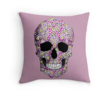 Pink Skull Art Bubbles Throw Pillow