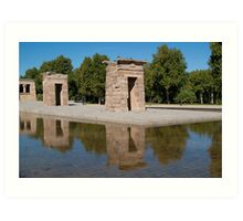 Egyptian temple in Madrid is reflected in surrounding transparent water Art Print