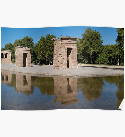 Egyptian temple in Madrid is reflected in surrounding transparent water Poster