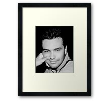 Portrait of young handsome sexy man on white background Framed Print