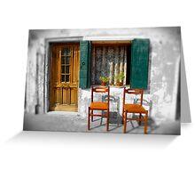 2 Chairs Burano, Venice Italy Greeting Card