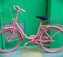 Pink Bike - Burano, Venice Italy  by Paul Williams
