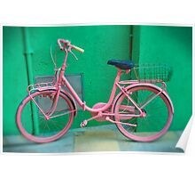 Pink Bike - Burano, Venice Italy  Poster