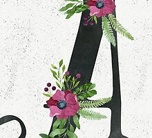Letter A with Floral Wreaths by helga-wigandt