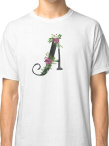 Letter A with Floral Wreath Classic T-Shirt
