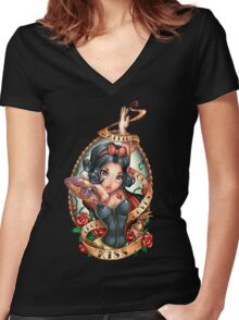 Waiting For Loves True Kiss Women's Fitted V-Neck T-Shirt