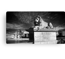 The Lion of The Chain Bridge - Budapest, Hungary Canvas Print