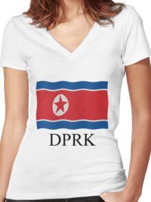 DPRK flag Women's Fitted V-Neck T-Shirt