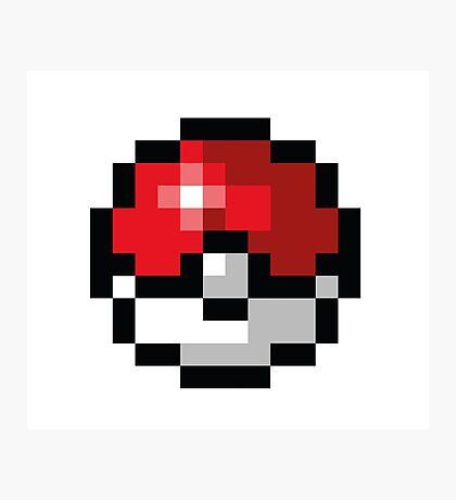 Pixel art Pokeball Photographic Print
