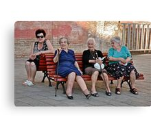 Joining The Ladies At The Gossip Spot Canvas Print