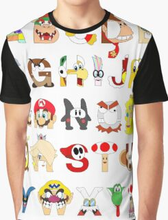Super Mario Alphabet Graphic T-Shirt