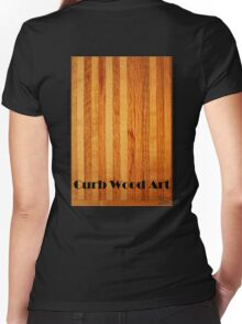 Official Curb Wood Art T shirt Women's Fitted V-Neck T-Shirt