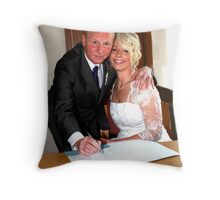 bride and groom signing the register Throw Pillow