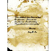 Altered, Edgar Allan Poe Quote Page Photographic Print