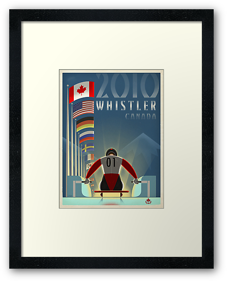"""""""Olympic Luge"""" Whistler, BC Travel Poster by James Tuer"""
