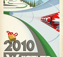 """Olympic Bobsled"" Whistler, BC Travel Poster by James Tuer"