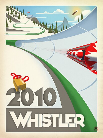 """""""Olympic Bobsled"""" Whistler, BC Travel Poster by James Tuer"""