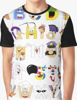 Breakfast Mascot Alphabet Graphic T-Shirt