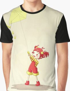 Girl with Kite Graphic T-Shirt