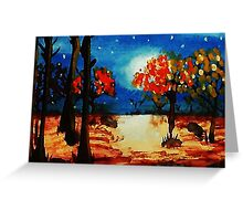Fall in the moonlight, watercolor Greeting Card