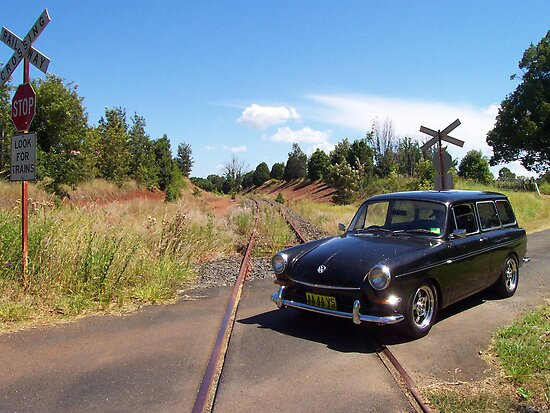 VW Squareback at Railway Crossing by Bami