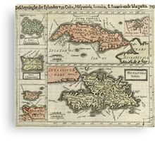 Vintage Map of The Caribbean Islands (1630) Canvas Print