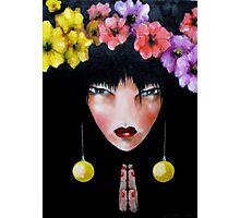 geisha with flowers Photographic Print