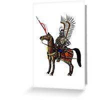 Polish Winged Hussar cartoon art drawing Greeting Card