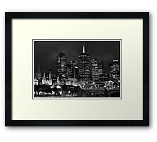 Melbourne and Flinders street in b/w  Framed Print