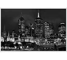 Melbourne and Flinders street in b/w  Photographic Print