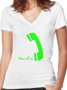 please call me Women's Fitted V-Neck T-Shirt