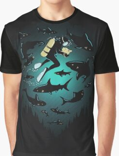 Screwed   Funny Shark and Diver Illustration Graphic T-Shirt