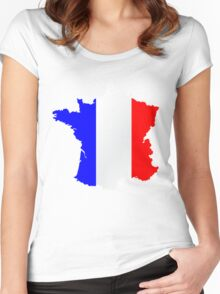 France Flag and  Map Women's Fitted Scoop T-Shirt