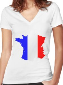France Flag and  Map Women's Fitted V-Neck T-Shirt