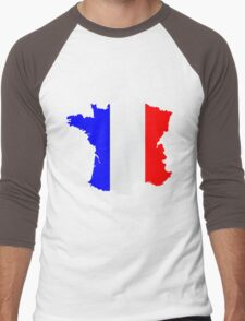 France Flag and  Map Men's Baseball ¾ T-Shirt
